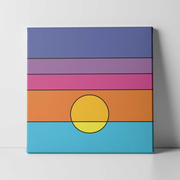 square stretched canvas art print with a colorful minimalist sunset design