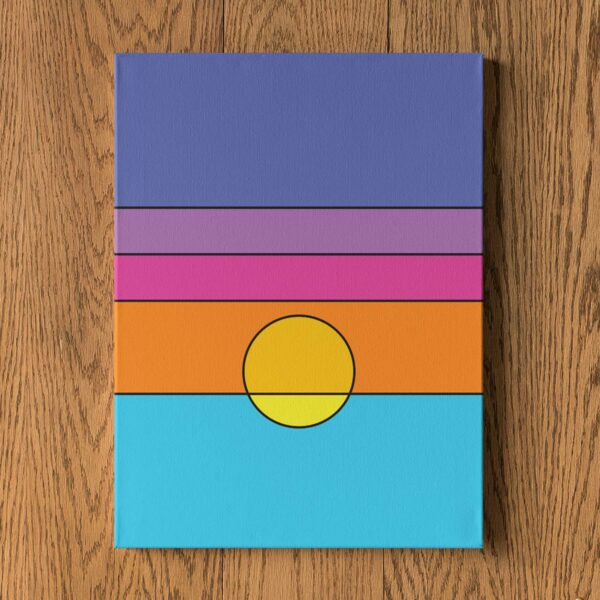 vertical stretched canvas art print with a colorful minimalist sunset design hanging on a wall
