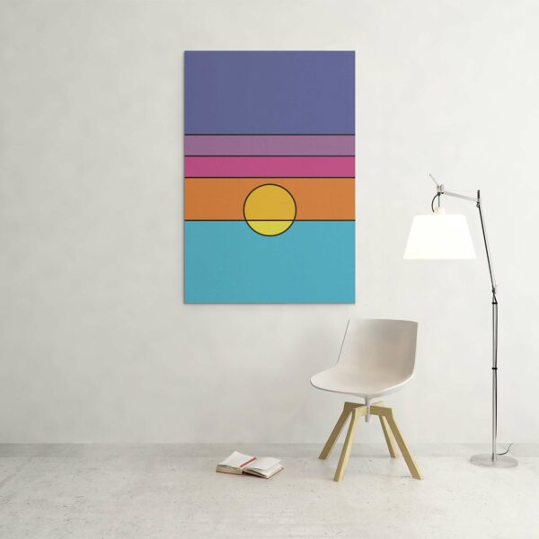 large vertical stretched canvas art print with a colorful minimalist sunset design hanging on a wall