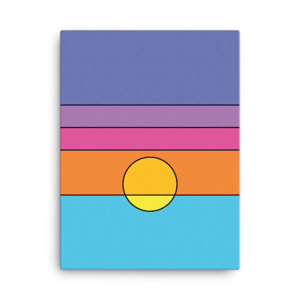 18 inch by 24 inch vertical stretched canvas art print with a colorful minimalist sunset design