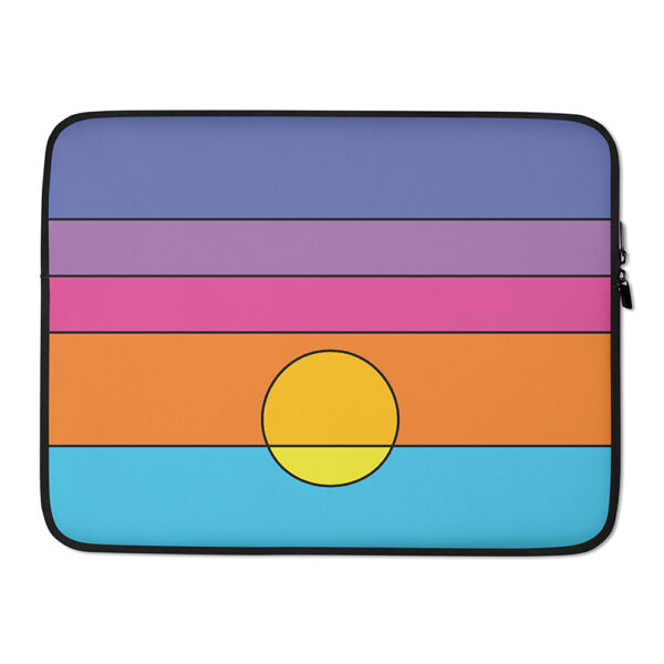 15 inch laptop sleeve with a colorful minimalist sunset design