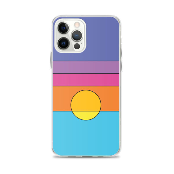 iphone 12 pro max case with a colorful minimalist sunset design