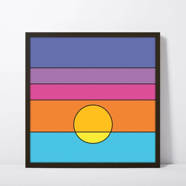 square art print with a colorful minimalist sunset design in a black frame