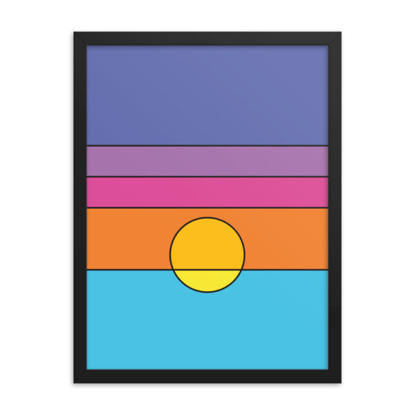18 inch by 24 inch vertical art print with a colorful minimalist sunset design in a black frame