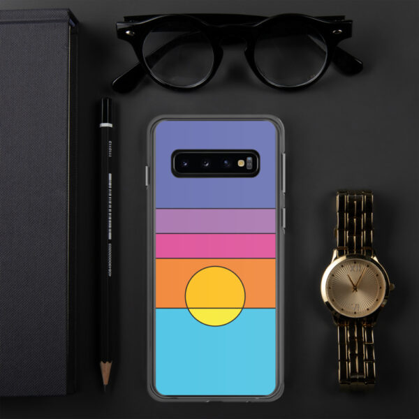 samsung phone case with a colorful minimalist sunset design sitting next to a watch