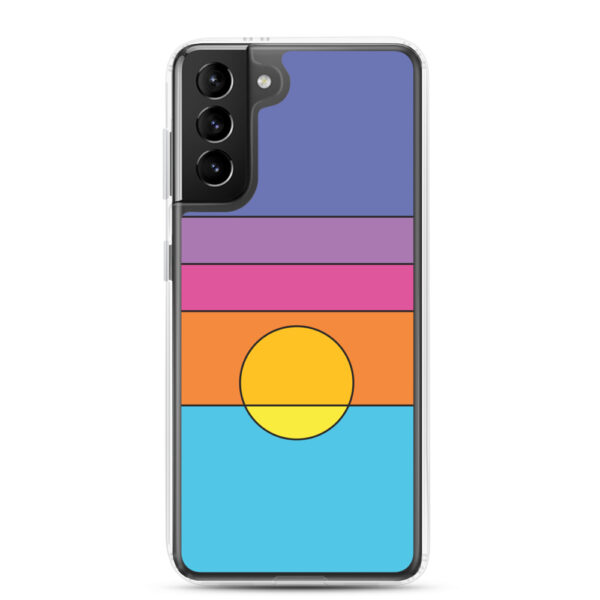 samsung galaxy s21 plus phone case with a colorful minimalist sunset design
