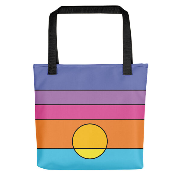 tote bag with a colorful minimalist sunset design and black handles
