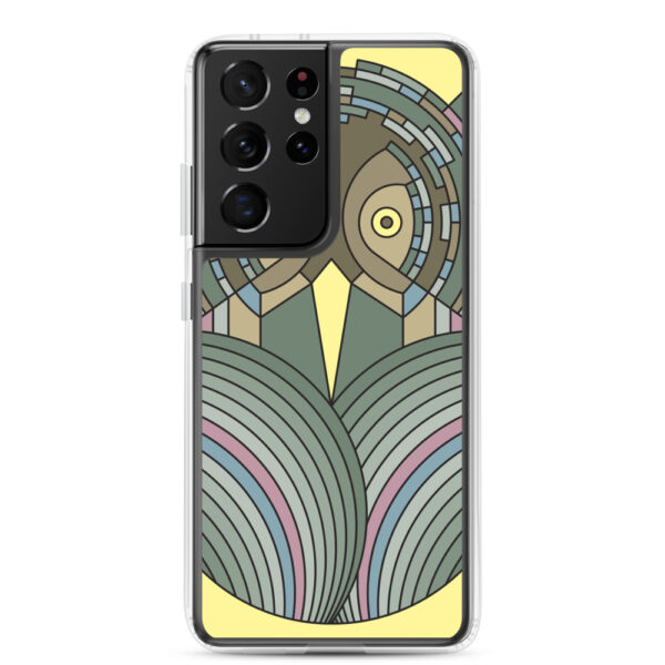 samsung galaxy s21 ultra phone case with a colorful green and brown owl design