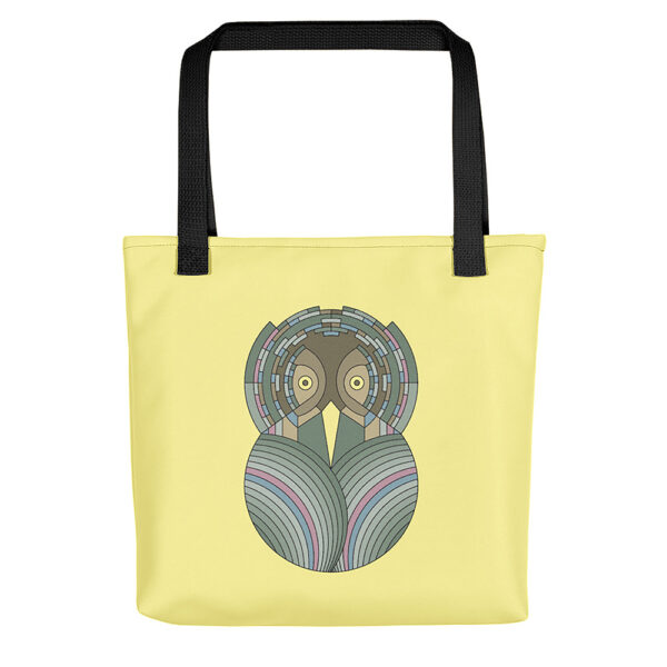 yellow tote bag with black handles and a green and brown owl design on the side