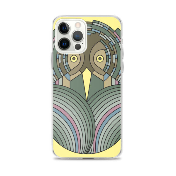 iphone 12 pro max case with a colorful green and brown owl design