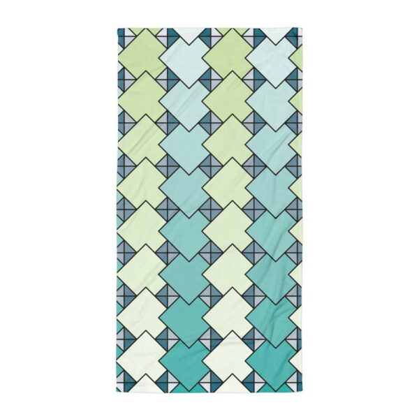 beach towel with a blue and green tile pattern