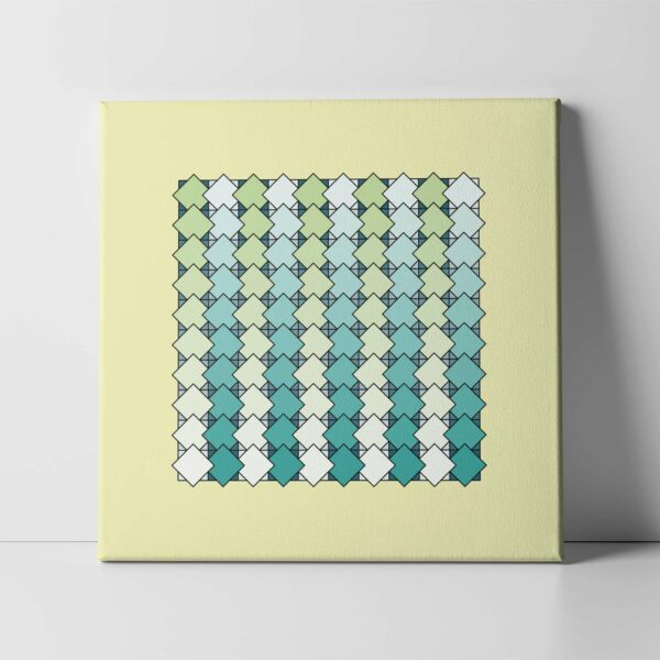 square stretched canvas art print of a blue and green tile pattern on a yellow background