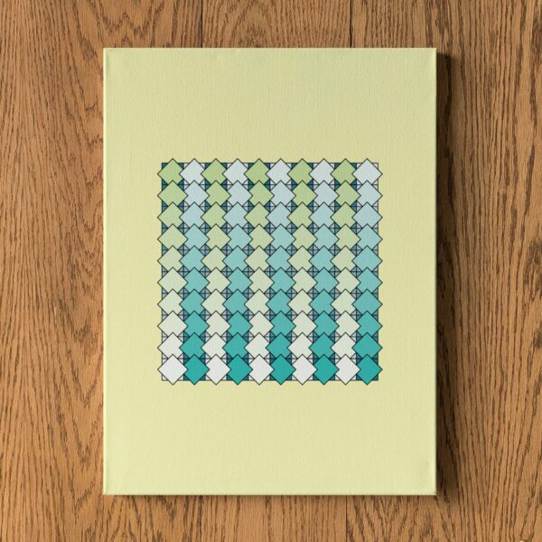 stretched canvas art print of a blue and green tile pattern on a yellow background hanging on a wall
