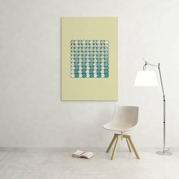large stretched canvas art print of a blue and green tile pattern on a yellow background hanging on a wall