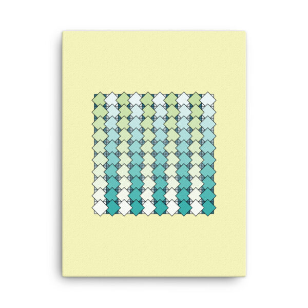 18 inch by 24 inch vertical stretched canvas art print of a blue and green tile pattern on a yellow background