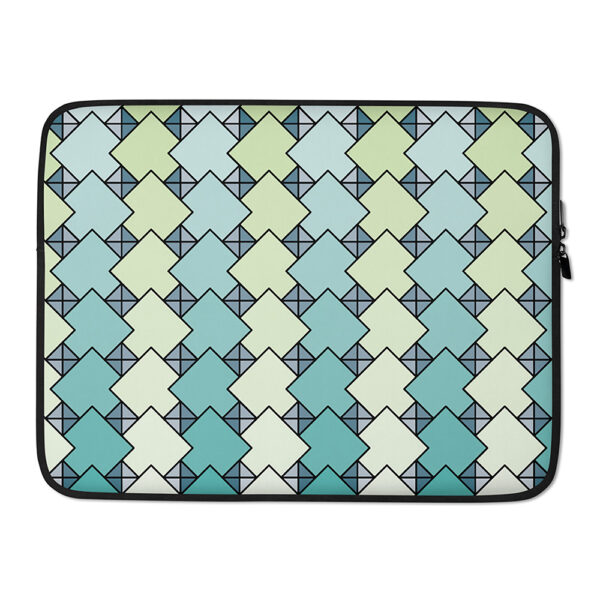 15 inch laptop sleeve with a blue and green tile pattern