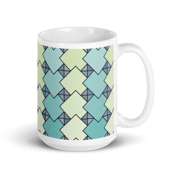 15 ounce coffee mug with a blue and green tile pattern