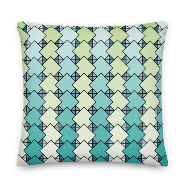 22 inch square pillow with a blue and green tile pattern