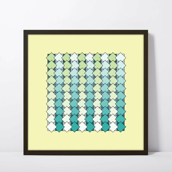 square art print with a blue and green tile pattern on a yellow background in a black frame