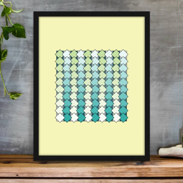 vertical rectangle art print with a blue and green tile pattern on a yellow background in a black frame