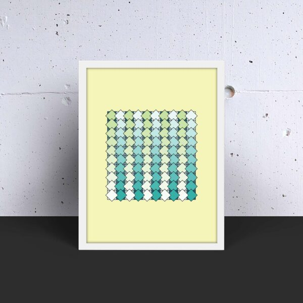 vertical art print with a blue and green tile pattern on a yellow background in a white frame