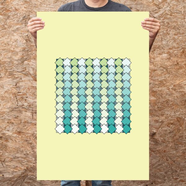 person holding a large vertical art print with a blue and green tile pattern on a yellow background