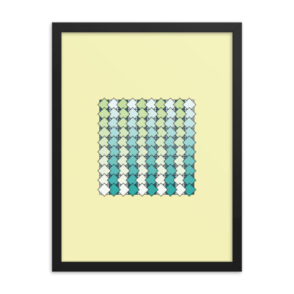 18 inch by 24 inch vertical art print with a blue and green tile pattern on a yellow background in a black frame