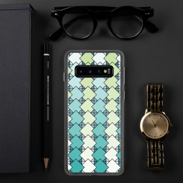 samsung phone case with a blue and green square tile pattern sitting next to a watch