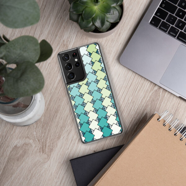 samsung phone case with a blue and green square tile pattern sitting next to a laptop