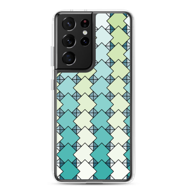 samsung galaxy s21 ultra phone case with a blue and green square tile pattern