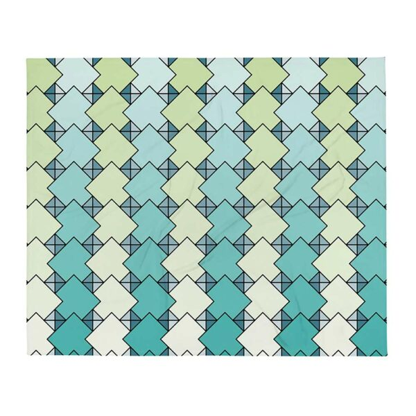 blanket with a blue and green tile pattern