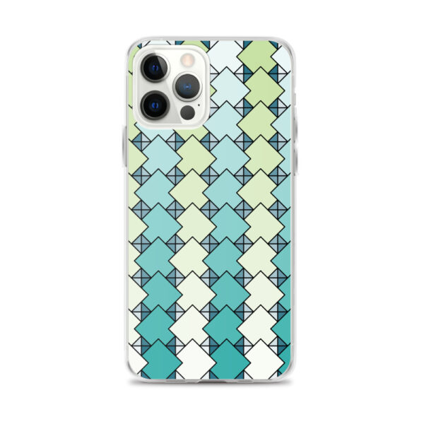 iphone 12 pro max case with a blue and green square tile pattern
