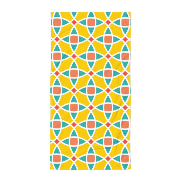 beach towel with a yellow blue and orange mosaic tile pattern