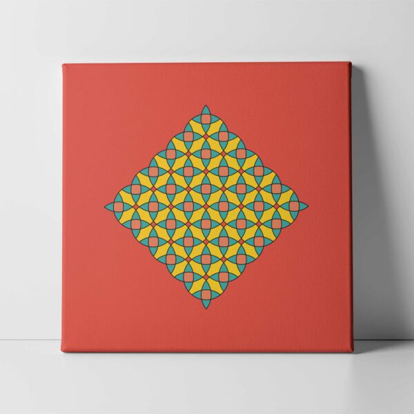 square stretched canvas art print with a colorful yellow mosaic design on a red background