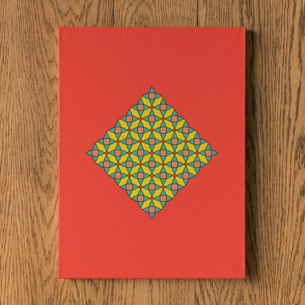 vertical stretched canvas art print with a colorful yellow mosaic design on a red background hanging on a wall
