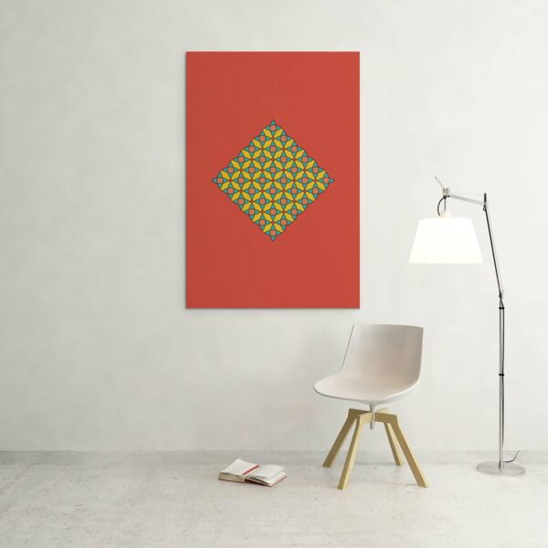 large vertical stretched canvas art print with a colorful yellow mosaic design on a red background hanging on a wall