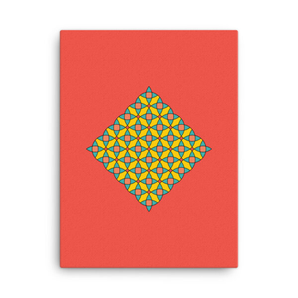 18 inch by 24 inch vertical stretched canvas art print with a colorful yellow mosaic design on a red background