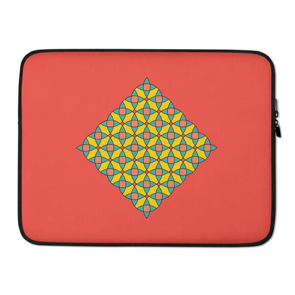 15 inch laptop sleeve with a yellow mosaic design on a red background