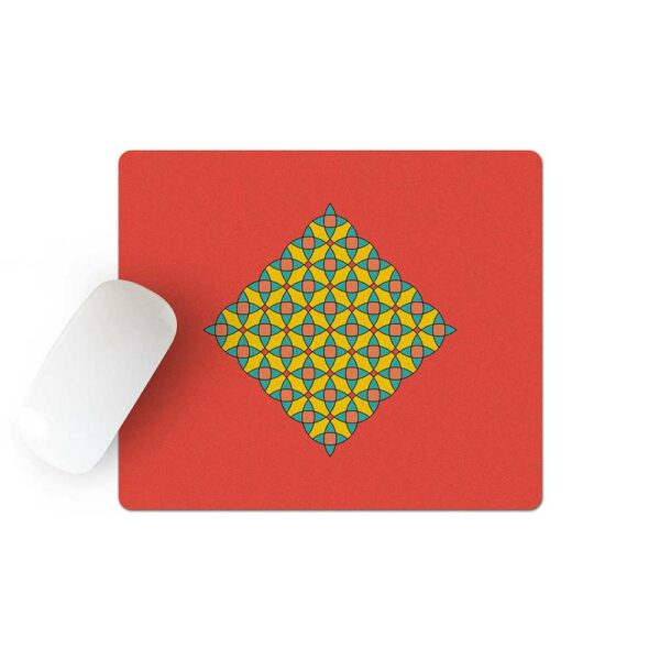 mouse pad with a yellow blue and orange mosaic design on a red background