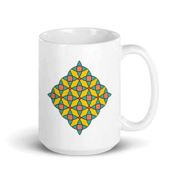 15 ounce white ceramic coffee mug with a colorful mosaic design on the side