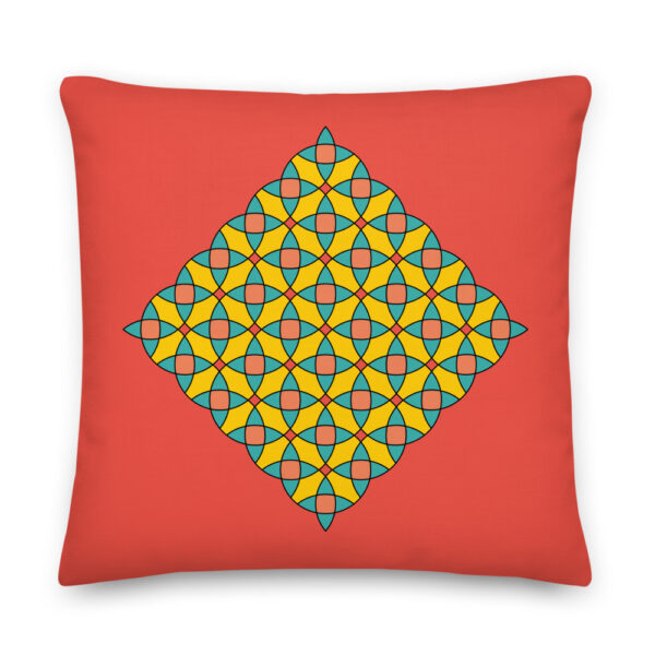 22 inch red square pillow with a yellow orange and blue mosaic design