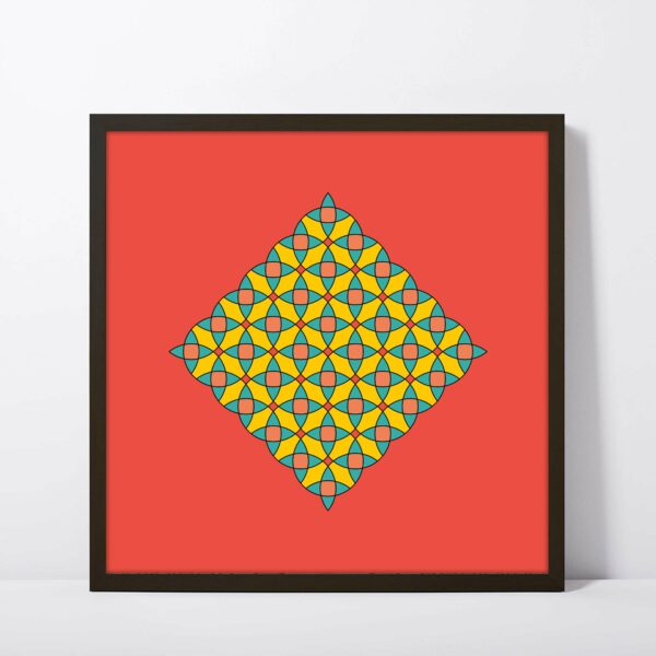 square fine art print with a colorful circle mosaic design on a red background in a black frame