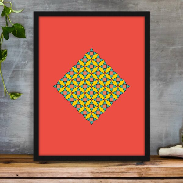 vertical fine art print with a colorful circle mosaic design on a red background in a black frame on a table