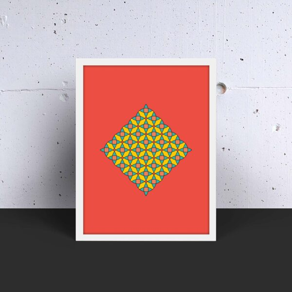 vertical fine art print with a colorful circle mosaic design on a red background in a white frame