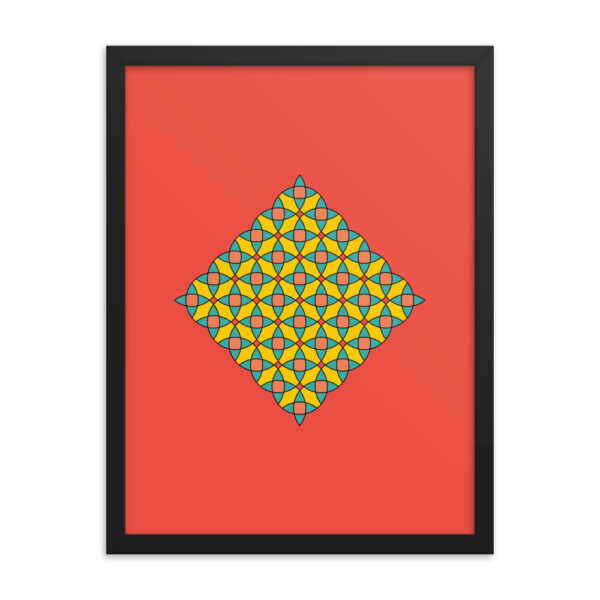 18 inch by 24 inch vertical fine art print with a colorful circle mosaic design on a red background in a black frame