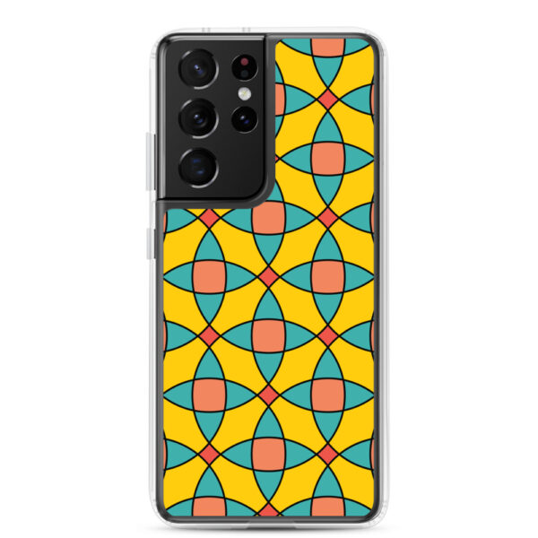 samsung galaxy s21 ultra phone case with a yellow orange and blue mosaic tile pattern