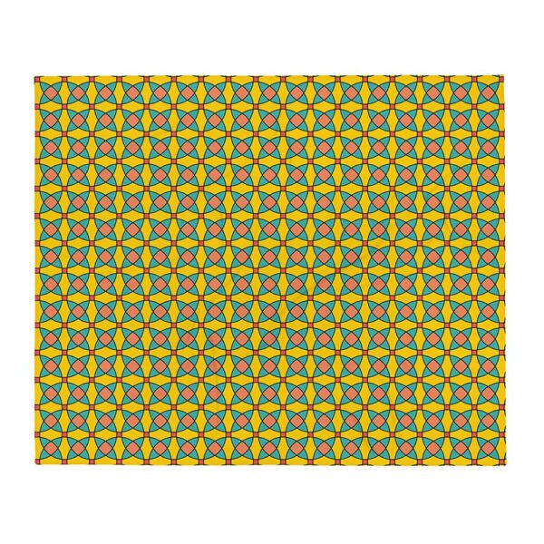 blanket with a yellow orange and blue mosaic tile pattern