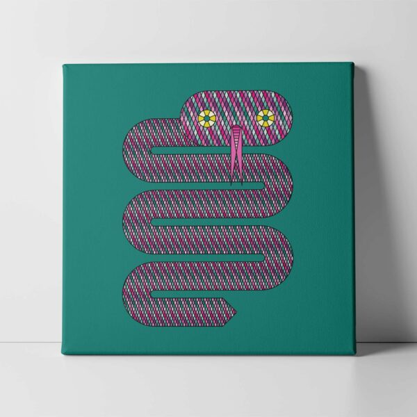 square stretched canvas art print of a pink snake design on a teal blue background