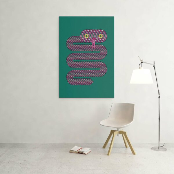 large vertical stretched canvas art print of a pink snake design on a teal blue background hanging on a wall