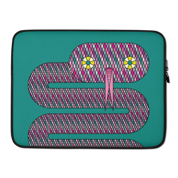 15 inch laptop sleeve with a pink snake design on a teal blue background